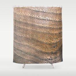 Warm Waved Wood Shower Curtain