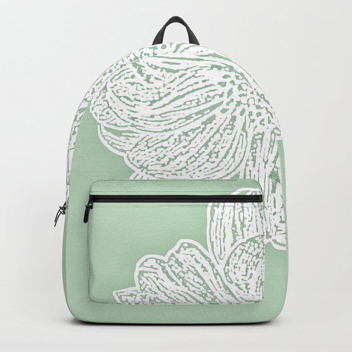 Single White Dahlia Lino Cut, Soft Sage Green Backpack