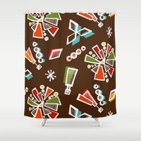 solar system Shower Curtains featuring Solar System by Holly Helgeson