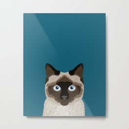 Ezra - Siamese Cat, Cute Kitten Retro Cat Art cell phone case, siamese, cute cat Metal Print