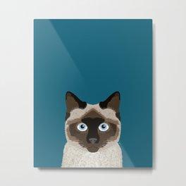 Ezra - Siamese Cat, Cute Kitten Retro Cat Art cell phone case, siamese, cute cat Metal Print