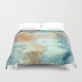 Blue Gold and White Marble Clouds Duvet Cover