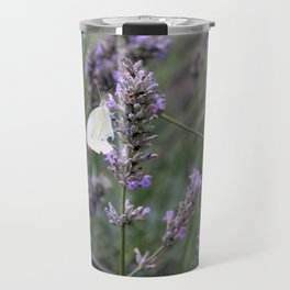 White Butterfly surrounded by Purple Lavender Travel Mug