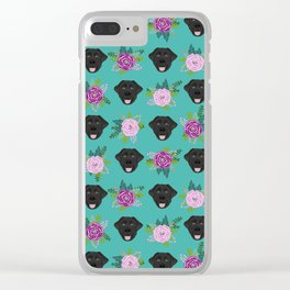 Black lab florals labrador retriever dog breed pet friendly pattern flowers bouquet Clear iPhone Case