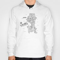 seattle Hoodies featuring Seattle Map by Claire Lordon