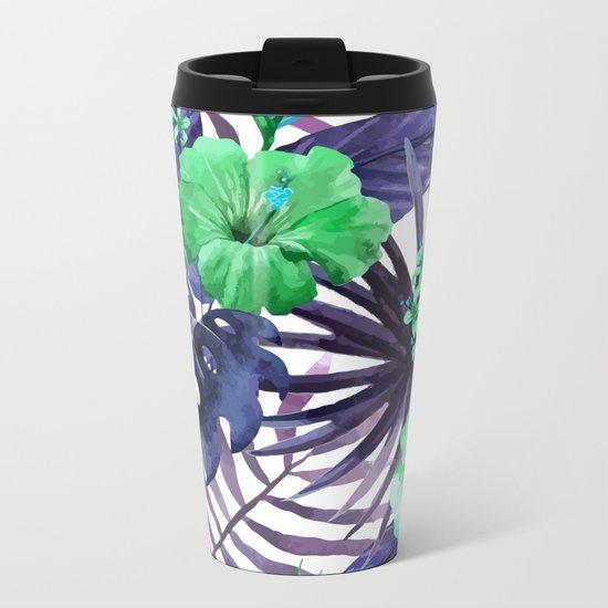 Watercolor botanical leaves Metal Travel Mug