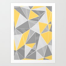 Pattern, grey - yellow Art Print
