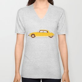 Yellow Ride of the Retro Future Unisex V-Neck