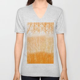 Frosted Winter Branches in Dusty Orange Unisex V-Neck