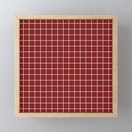 Falu red - red color - White Lines Grid Pattern Framed Mini Art Print