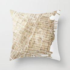 Hoboken New Jersey city map Throw Pillow