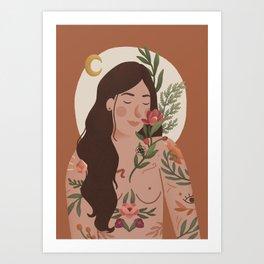 Ayla - Woman Flowers Tatoo Art Print