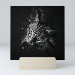 scary lurking cat from right splatter watercolor black white Mini Art Print