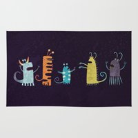 vegetarian Area & Throw Rugs featuring Secretly Vegetarian Monsters by Nic Squirrell