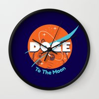 nasa Wall Clocks featuring Doge Nasa Variant (To The Moon!) by Tabner's