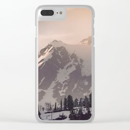 Pink Mountain Morning - Nature Photography Clear iPhone Case