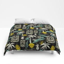 Island Tiki - Black Comforters