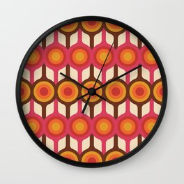 Magenta, Orange, Ivory & Brown Retro 1960s Circle Pattern Wall Clock