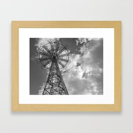 Coney Island Parachute Jump. Black and white photography Framed Art Print