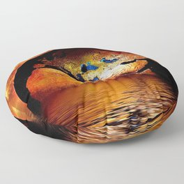 Planet Earth Globe magical realism portrait of ocean and gold fiery sky portrait Floor Pillow