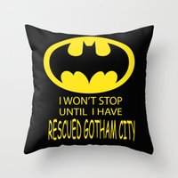 gotham Throw Pillows featuring Gotham City by Veronica Ventress