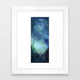 Galaxy Watercolor Aurora Borealis Painting Framed Art Print