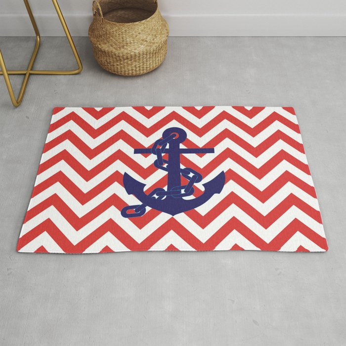 Blue Anchor On Red And White Chevron Pattern Rug By Lena127