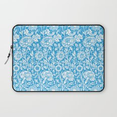 "William Morris Floral Pattern | ""Pink and Rose"" in Turquoise Blue and White Laptop Sleeve"