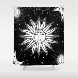 Celestial Night / Sun Moon And Stars Shower Curtain