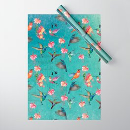 Vintage Watercolor hummingbirds and fuchsia flowers Wrapping Paper