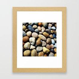 Beach town rocks Framed Art Print