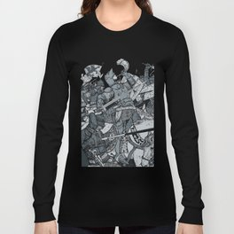Saturday Knight Special STEEL BLUE / Vintage illustration redrawn and repurposed Long Sleeve T-shirt