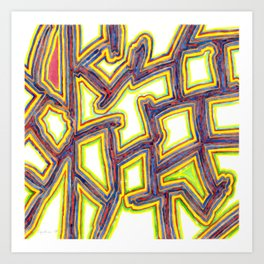 Outlined Fancy White Shapes Pattern Art Print