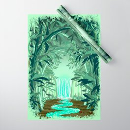 Fluorescent Waterfall on Surreal Bamboo Forest Wrapping Paper
