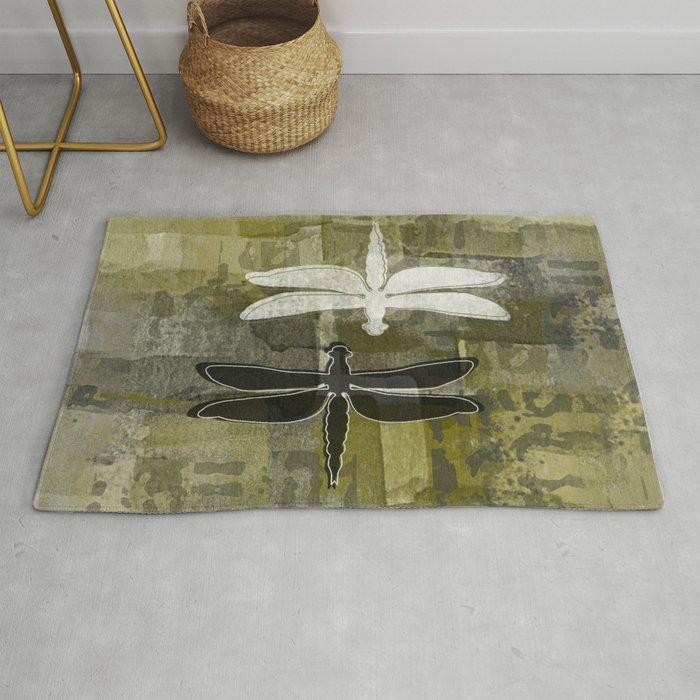 White and Black DragonFlies Rug