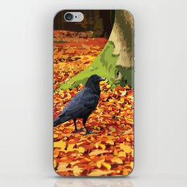 Raven in Autumn Forest iPhone Skin