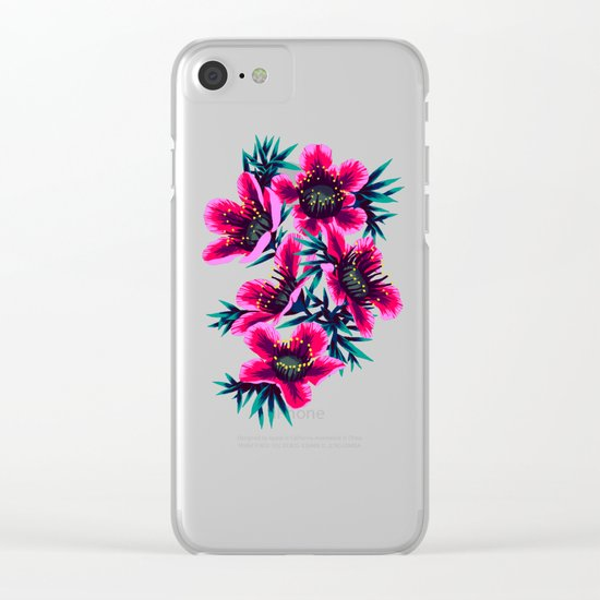Manuka Floral Print Clear iPhone Case