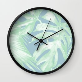 Tropical Leaves Luxe Pastel Sea Turquoise Blue Green Wall Clock