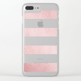 Simply Stripes in Rose Gold Sunset Clear iPhone Case