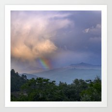 Rainbow At The Mountains. Into The Storm Art Print