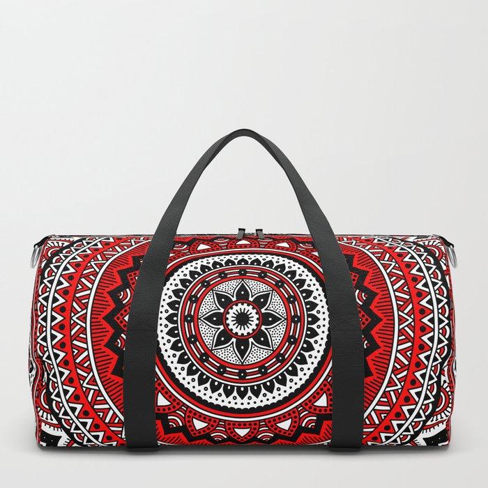 Red and Black Mandala Duffle Bag