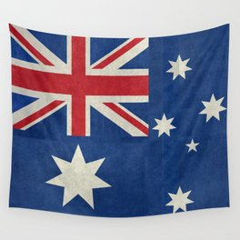 """Australian flag, retro """"folded"""" textured version (authentic scale 1:2) Wall Tapestry"""
