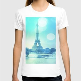 Paris Bokeh Aqua T-shirt