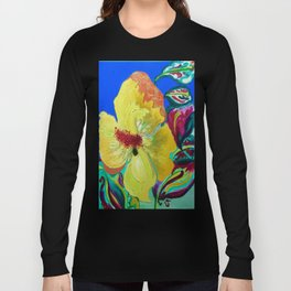 Birthday Acrylic Yellow Orange Hibiscus Flower Painting with Red and Green Leaves Long Sleeve T-shirt
