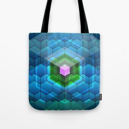 Contemporary abstract honeycomb, blue and green graphic grid with geometric shapes Tote Bag