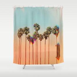 Glitch beach Shower Curtain