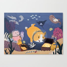 Diving For Treasure! Canvas Print