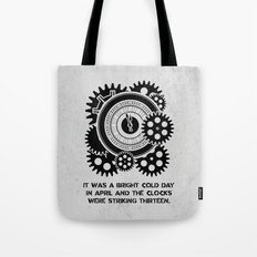 George Orwell - 1984 - Clock Striking 13 Tote Bag
