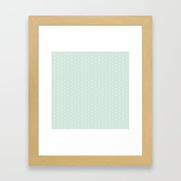 Vintage blush green white elegant chic polka dots pattern Framed Art Print