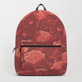 Stop and Smell the Roses RETRO RED / Rose pattern Backpack